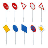 Isometric traffic signs collection. European traffic signs collection. Signs of danger. Mandatory signs. Signs of obligations. Signs of alerts Stock Photos