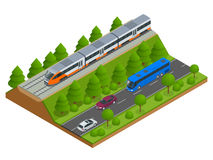 Isometric train tracks and modern train. Railroad icons. Modern high speed red commuter train. Flat 3d isometric vector. Illustration. For infographics and Stock Photo