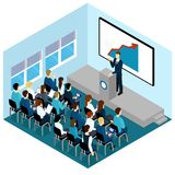 Isometric Training Lectures Composition. With colleagues at the working meeting or learning vector illustration Stock Photos