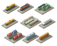 Isometric trains and cars. Set of the isometric locomotives and different cars for isometric map creation Stock Photography