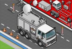 Isometric transmisi TV ciężarówka w Frontowym widoku Obraz Stock