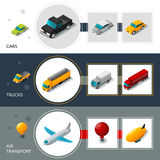 Isometric Transport Banners Stock Photos