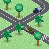 Isometric transport cars on road. Stock Photography
