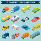 Isometric Transport Icons Set. Isometric public city transport 3d icons set isolated vector illustration Royalty Free Stock Images