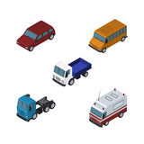 Isometric Transport Set Of Autobus, Truck, Lorry And Other Vector Objects. Also Includes Bus, Lorry, Ambulance Elements. Royalty Free Stock Images