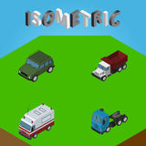 Isometric Transport Set Of Freight, First-Aid, Armored And Other Vector Objects. Also Includes Aid, Car, Suv Elements. Stock Photos
