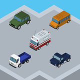 Isometric Transport Set Of Suv, Autobus, Armored And Other Vector Objects. Also Includes Truck, Bus, Lorry Elements. Isometric Transport Set Of Suv, Autobus Stock Photography