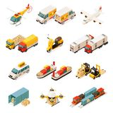 Isometric Transportation Elements Set. With cars helicopter trucks airplane scooter ships forklifts container drone train isolated vector illustration Royalty Free Stock Photography