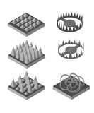 Isometric trap for game. Traps set. Set for game. Game landscape Stock Images