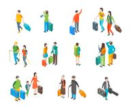 Isometric Travel People Characters Icon Set. Vector. Isometric Travel People Characters Icon Set Isolated on a White Background . Vector illustration of Tourist vector illustration