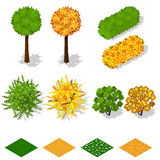 Isometric trees, bushes, grass, flowers. Royalty Free Stock Image