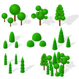Isometric trees, firs and shrubs. The green vegetation. Royalty Free Stock Image