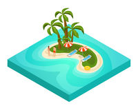 Isometric Tropical Beach Vacation Concept. With tourists palm trees umbrellas chaise lounges lifebuoy on island vector illustration Royalty Free Stock Images