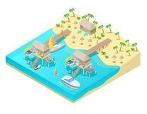 Isometric Tropical Beach Vacation Resort Royalty Free Stock Photos