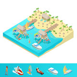 Isometric Tropical Beach Vacation Resort Royalty Free Stock Photography