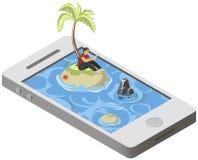 Isometric tropical desert island on smartphone Royalty Free Stock Photography