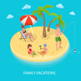 Isometric Tropical Island Beach Family Relaxing Royalty Free Stock Image