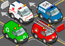 Isometric Trucks firefighters, police, ambulance, garbage collector. Detailed illustration of a Isometric Trucks firefighters, police, ambulance, garbage Royalty Free Stock Images
