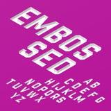 Isometric typeface. Embossed font, isometric typeface illustration Royalty Free Stock Photo