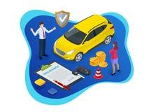 Isometric ubezpieczenie samochodu pojęcie Auto polisa ubezpieczeniowa z gotówki i klucza fob Rembursu pojazd royalty ilustracja