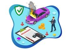 Isometric ubezpieczenie samochodu usługi Auto polisa ubezpieczeniowa z gotówki i klucza fob Ochrona od niebezpieczeństwa, providi royalty ilustracja
