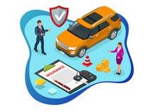 Isometric ubezpieczenie samochodu usługi Auto polisa ubezpieczeniowa z gotówki i klucza fob Ochrona od niebezpieczeństwa, providi ilustracja wektor