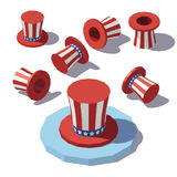 Isometric Uncle Sam hat. Vector isometric low poly Uncle Sam hat Stock Photos