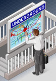 Isometric Underground Map - Man who is Searching for Royalty Free Stock Image