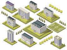 Isometric University Set. With sports ground and campus isolated vector illustration vector illustration