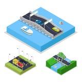 Isometric Urban Bridge Road with Cars and Boat. City Traffic. Vector flat 3d illustration stock illustration