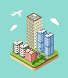 Isometric urban city. Flat 3d isometric urban city infographic concept. Town center map with buildings, shops and roads on the plane Royalty Free Stock Photography