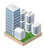 Isometric urban city. Flat 3d isometric urban city infographic concept. Township center map with buildings, shops and roads on the plane Royalty Free Stock Photo