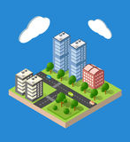 Isometric urban city. Flat 3d isometric urban city infographic concept. Township center map with buildings, shops and roads on the plane Royalty Free Stock Image