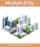 Isometric urban city. Flat 3d isometric urban city infographic concept. Township center map with buildings, shops and roads on the plane Stock Photos