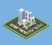 Isometric urban city. Flat 3d isometric urban city infographic concept. Township center map with buildings, shops and roads on the plane Royalty Free Stock Images
