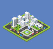 Isometric urban city. Flat 3d isometric urban city infographic concept. Township center map with buildings, shops and roads on the plane Stock Image