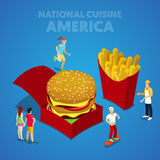 Isometric USA National Cuisine with Fast Food and American People. Vector 3d flat illustration Stock Photo