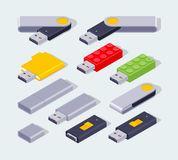 Isometric USB flash-drive Royalty Free Stock Photos