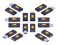 Isometric USB flash-drive Royalty Free Stock Photography