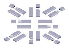 Isometric USB flash-drive Stock Image