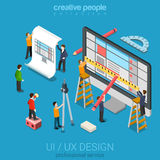 Isometric user interface design process concept. Flat 3d isometric desktop UI/UX design web infographic concept vector. Crane micro people creating interface on Royalty Free Stock Images