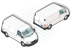 Isometric van. Isometric white van in front and back vision Stock Image