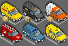 Isometric van in six models. Delivery with some packs, firefighters, police, taxi Stock Images