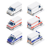 Isometric Vans Set with Ambulance and Police Car Stock Photos