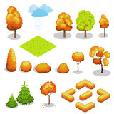 Isometric vector autumn tree set. Landscape constructor kit. Different trees for make design. Royalty Free Stock Photos