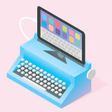 Isometric vector blue retro typewriter. Connected to mobile tablet stock illustration
