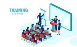Isometric vector of business people office employees receiving company training stock illustration