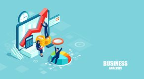Isometric vector of businesspeople working as a team developing a successful strategy vector illustration