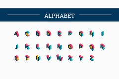 Isometric vector color alphabet Royalty Free Stock Image