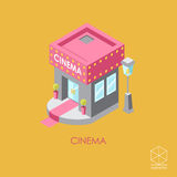 Isometric vector color icon Cinema  on a yellow background Royalty Free Stock Photos